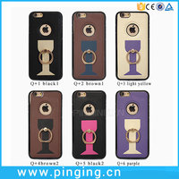 New Arrival TPU Voltage PU Finger Ring Holde Cell Phone Case For iPhone 6
