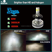 40w 3600lm automobile A340 car H4 LED Headlight with 3 sides