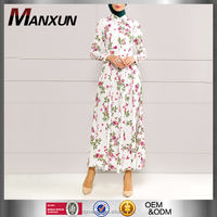 Elegant Floral Print Hidden Button Dress Dubai Women Abaya Ladies Jalabiya 2016