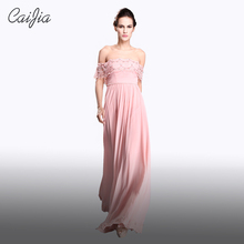 CAIJIA Pink Beading Off The Shoulder Long Chiffon Evening Dress Lace Prom Dress With Pearl Waistband