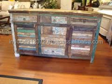 Reclaimed wood shuttering cabinet with 6 drawer