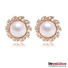 Simple Small Round Ball Shaped 18K Rose Gold Plated Women Pearl Jewelry Set Stud Earrings China Factory Bijouterie ER0149-A