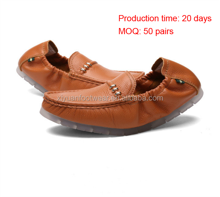 Small MOQ Men Mark Thread Casual Walk Loafer Shoes With Leather Upper