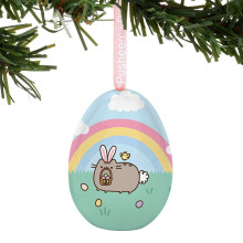 Lovely Metal Easter Egg Candy Tin Box Hanging Decoration for Party