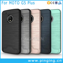 Hot Selling brushed armor card slot cover for Moto G5 Plus , 2 in 1 hybrid hard kickstand case for Moto G5 Plus