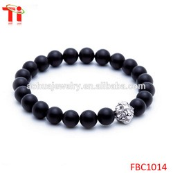 Natural stones bracelet 2017 trending products wholesale fashion jewelry gold plated lion round wood beads bracelet bangles