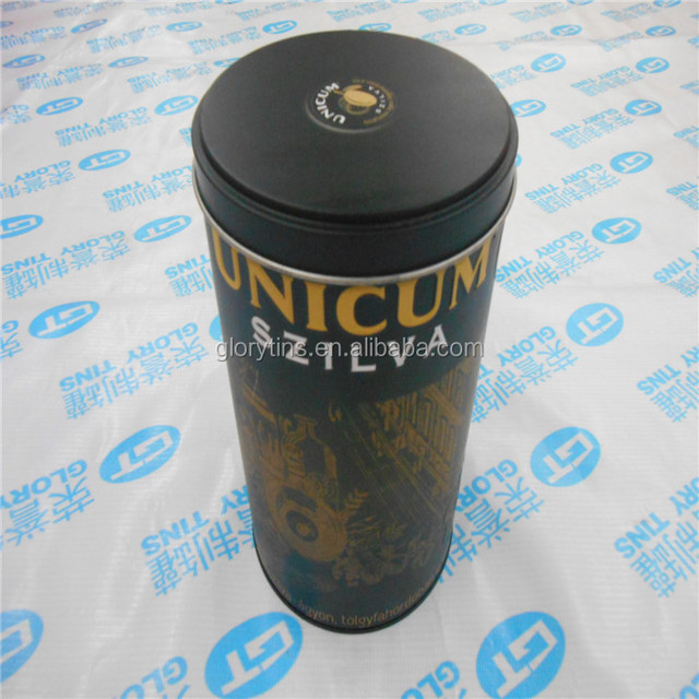 hot sale round tall metal tin for tea packing, storage tin can