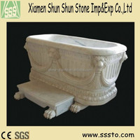 Hand-carving marble hot bathtub