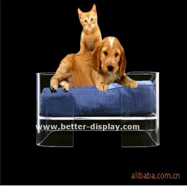 luxury clear acrylic pet dog bed with cushion