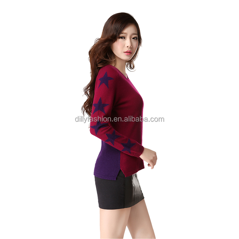 Super soft handfeeling 100% cashmere women sweater star intarsia pattern