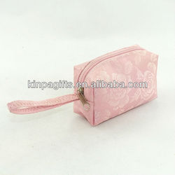 Pink Fabric Change Wallet / Purse With Zipper & Hook