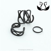 Factory wholesale boy and girl fashion punk style black Matte surface 3-pcs Joint rings