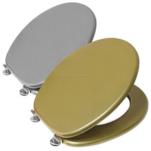 Royal Metallic Gold & Silver Solid Colored Glitter Toilet Seats Lid Covers With Heavy Duty Stainless Steel Hinge
