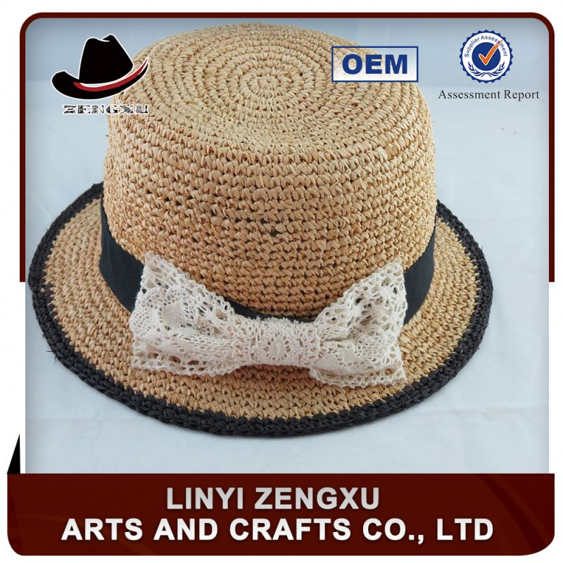 Professional trade team new design high quality stylish beautiful girl flowers straw hat