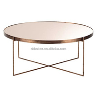 Metal frame rose gold copper mirror face coffee side table