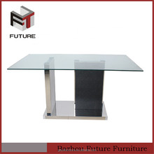 glass top marble base dining table for living room