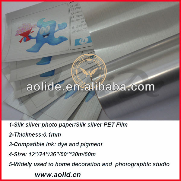 Silk silver metallic inkjet photo paper/Silk silver metallized inkjet film