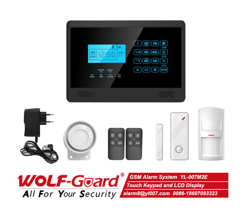 Spanish / Polish / Dutch / French / German / Portuguese 433mhz Gsm Home Security Wireless Alarm System Touchscreen