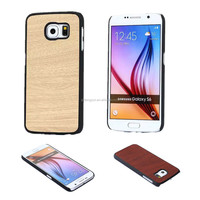 Wood pattern PU+Rubberized pc leather back hard case for Samsung S6