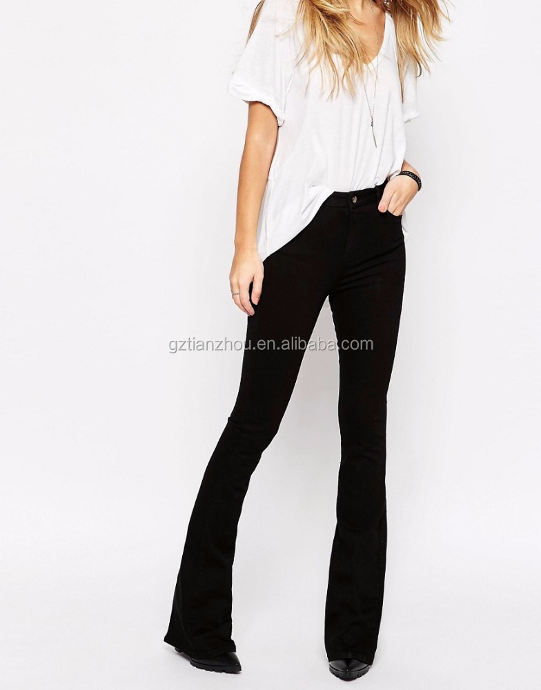 Clean Black Clean Black Bell Flare Jeans High Rrise Waist Stretch Denim For Fashion Ladies