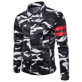 Hot Seller Men's Striped Camouflage Letters Printing Denim Activewear Jacket