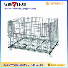 Wuhao factory price collapsible industrial wire bulk crates steel mesh storage & shipping containers