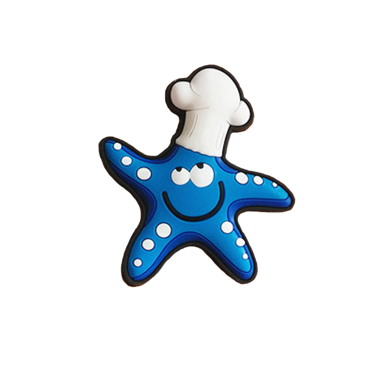 Custom creative sea starfish with hat 3d soft pvc rubber fridge magnet