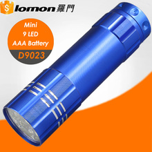 D9023 Portable AAA Dry Battery 9 Led Mini Flash Mr Light Reflector Led Color Flashlight Torch with Lanyard