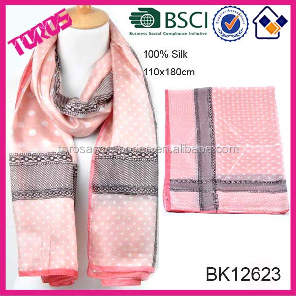 HIGH QUALITY LADY ROSE SHAWL POLKA DOT PRINT SCARF SILK WITH LACE