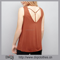 New Look Summer V Neckline Sleeveless Design Ring Detail Cross Strap Back Light Brown Women Fashion Beach Vest