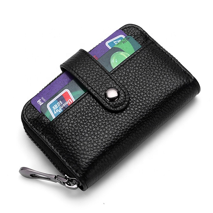 Stylish men and women Double zipper card holder Rfid anti-magnetic organ wallet