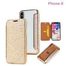 Glitter Bling Crystal Diamond Leather Wallet Card Slot Case for samsung s8 s8plus