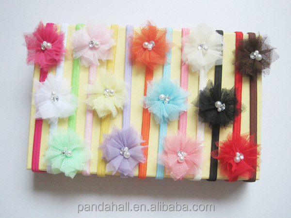 Mixed Color Elastic Baby Headbands, Cloth Flower Headbands for Girls(OHAR-S116-M04)
