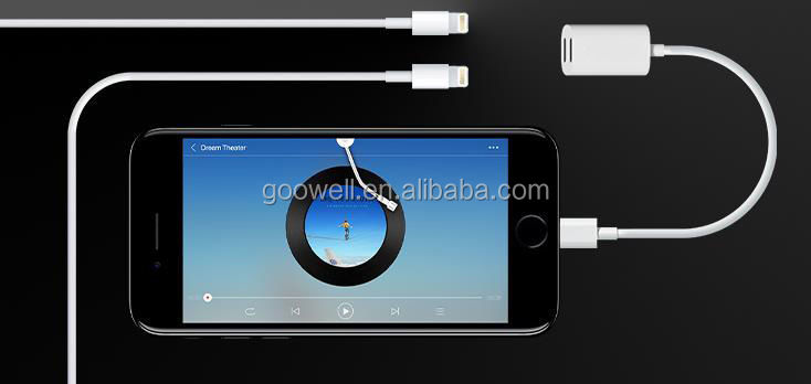 Manufacturer of Dual lightning splitter adapter cable for apple 7 charging and listen music