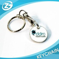 Promotional Tokens Buckle , Supermarket Coin Tokens Keychain Shopping Metal Trolley Coin Keyring