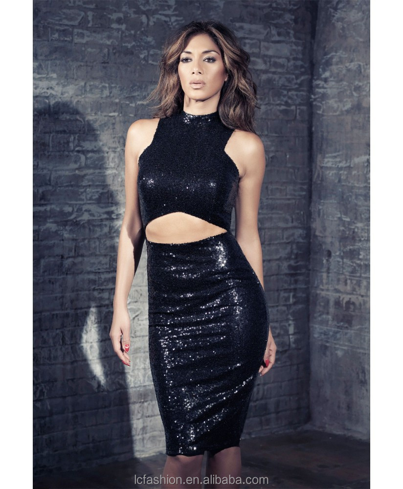 2015 Summer Sexy Sleeveless Cheap Full Black Sequin Dress for Women