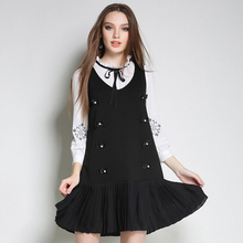 Fashional design 2017 new model Spring women dress black colors large size with beaded decoration young girl lovely dress
