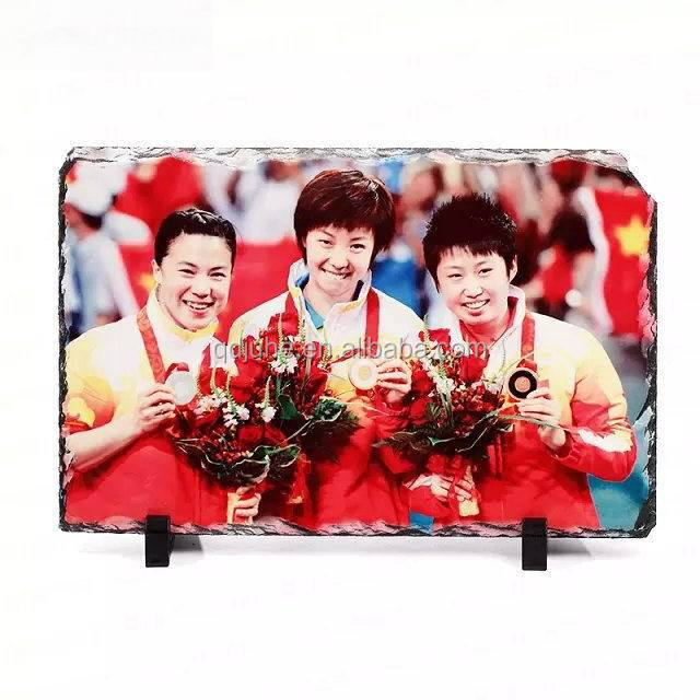 Sublimation Stone Photo Rock/stone slate photo frame sublimation for promotion
