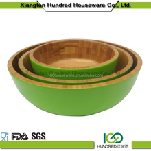 Green Color Painted bamboo wood salad bowl