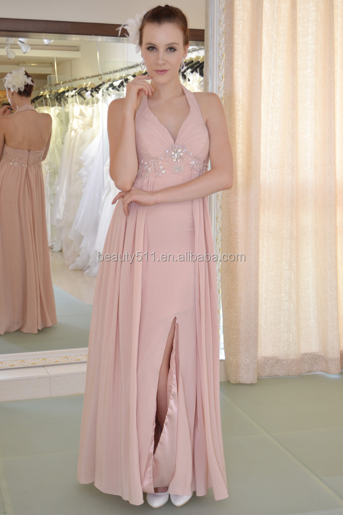 Elegant Celebrity Style A-line Halter Jewel Sweep Brush Train evening dress prom gowns AS220