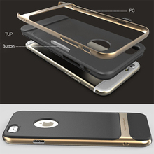 Hybrid Gold Hard Bumper Soft Rubber Case Cover Skin for Apple iPhone 6 4.7