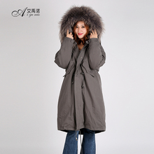 Fashion Hot Sale Duck Down Feather Dress With Real Raccoon Fur Collar Long Coat Hooded For Women And Ladies Winter Trade Winter