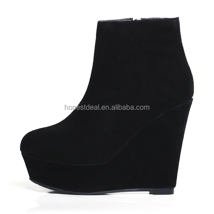 2017 women soft black suede round toe wedge heel side zipper formal office lady sexy big size ankle platform boots