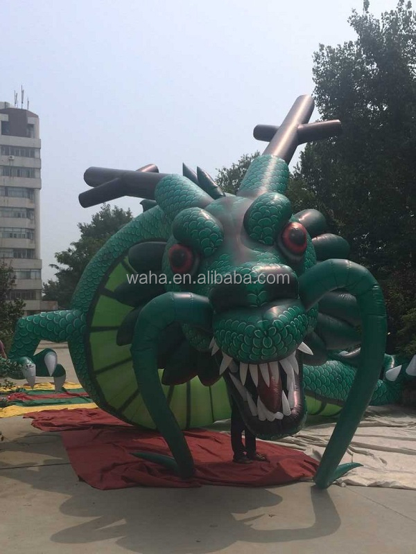 92ft Customization event inflatable dragon cartoon model for event green