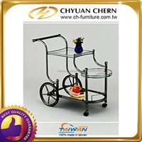 NEW BLACK COLOR METAL WITH GLASS HOTEL RESTAURANT SERVING FOOD CART