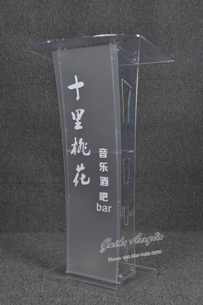 YZ-024 customized logo modern cheap clear acrylic speech lectern podium with RGB led lights