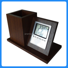 Factory supply wooden pen holder Calendar digital clock
