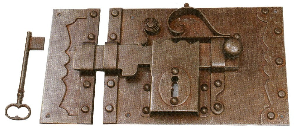 Forged iron door lock made in italy