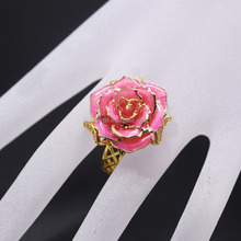 Fashion wholesale gold dipped diamond rose ring