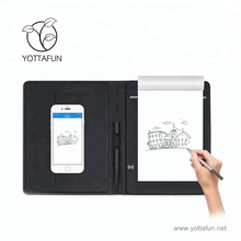Fancy memo smart electronic e customised digital writing pad leather folding with digital pen
